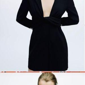 Zara XS 2 4 BLACK draped blazer dress